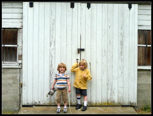 Nisqually Boys and Barn