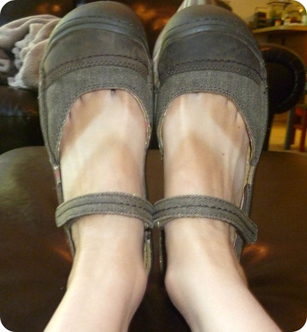 Sandals with tan line