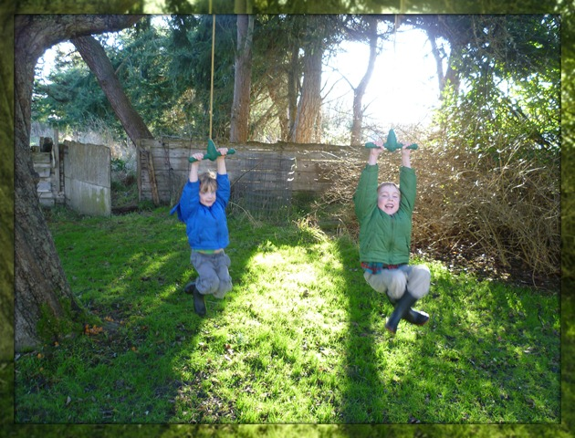 Visit - boys swinging under the apple tree