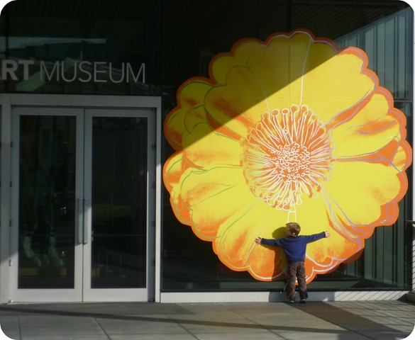 Carter Hugging Andy Warhol Flower