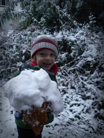 Snowday Carter with large snowball
